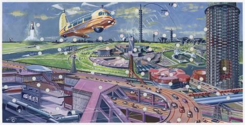 Theo Lässig (1928-2015): Entwurfszeichnung einer futuristischen Stadt, ca. 1976. Foto Deutsches Museum. Alle Rechte vorbehalten.