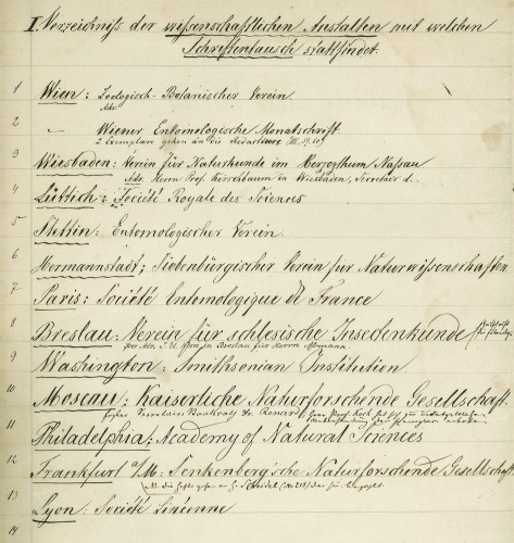 Ausschnitt aus dem Verzeichnis der Schriftentauschpartner des Berliner Entomologischen Vereins ab 1857 (SDEI Inv. 40, Kraatz, 9.1).