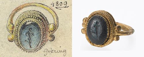 RGZM Kopie 4809, links im Handskizzenbuch Ludwig Lindenschmits des Älteren (nach 1852) und rechts auf einem Foto aus dem Jahr 2009 (RGZM/S. Steidl).
