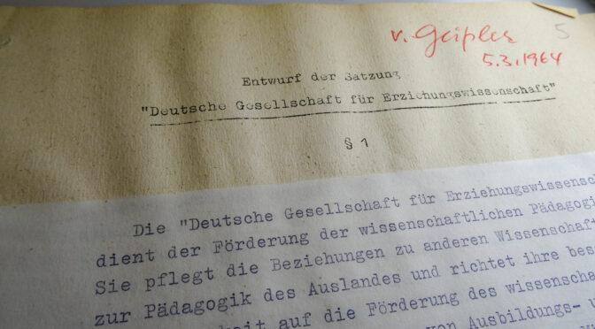 Vorstandsunterlagen der Deutschen Gesellschaft für Erziehungswissenschaft (DGfE) vollständig erschlossen